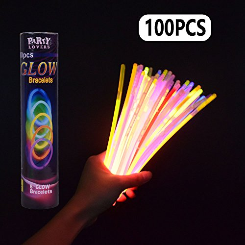 "LEEHUR 100 Pcs 8"" Light Up Glow Sticks Bracelets Necklace fo"