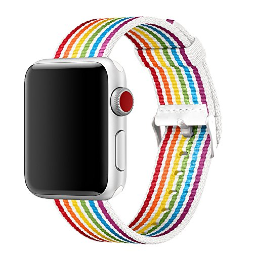 INTENY Newest Woven Nylon Fabric Wrist Strap Replacement Band with Classic Square Stainless Steel Buckle Compatible for Apple iWatch Series 1/2/3,Sport & Edition,38mm, Pride Edition-New Rainbow by INTENY
