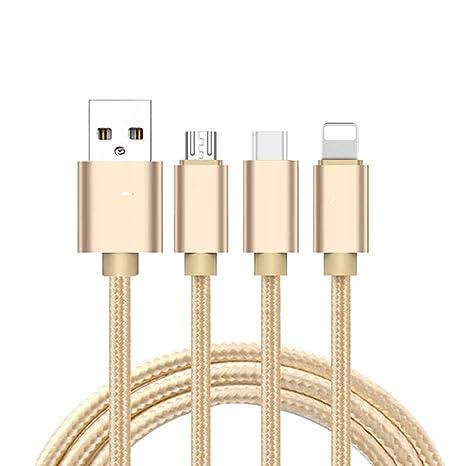 Ogquaton Cable de Carga 3 en 1 Cable Micro USB de Nylon ...