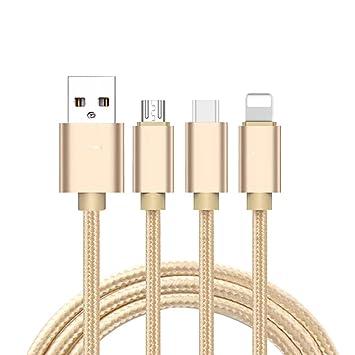 Ogquaton Cable de Carga 3 en 1 1.2m Cable Trenzado de Nylon ...