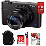 "Sony Cyber-shot DSC-RX100 III 20.2 MP Digital Camera - Black w/32GB Deluxe Bundle Includes, Soft Carrying Case for Digital Cameras +12"" Rubberized Spider Tripod + 32GB SDHC Memory Card"