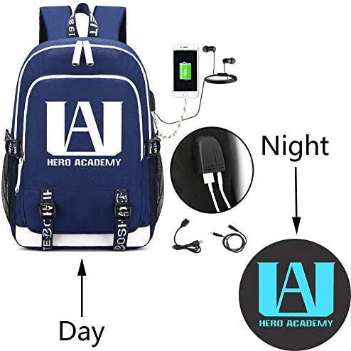 Fashco Creative Luminance My Hero Academy USB Charging Backpack Backpack Travel Bag Computer Bag (Blue)
