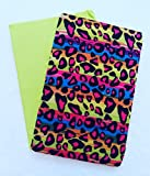 Set of 2 Jumbo Stretchable Patterned Book Covers (Neon Leopard)
