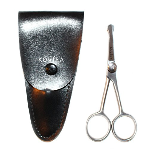 Nose Scissors - 4 Inch Rounded Scissors for Nose, Eyebrow, Ear, Dog Hair Trimming - Nasal Scissors for Men & Women - Nose Hair Scissors with Case