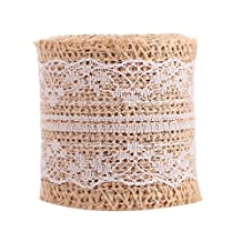 "4 PCS Natural Jute Burlap Rolls Ribbon With Lace 2"" Wide 2 Yards Long Per Roll Arts Crafts Wedding Decoration"