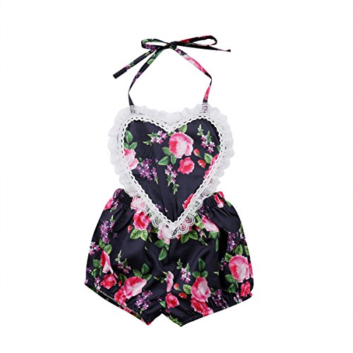 sweetyhouse Newborn Infant Baby Girls Lace Heart Strap Floral Romper Jumpsuit Sunsuit Summer Clothes ()