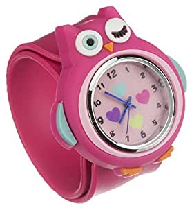My Doodles Fun Children's Novelty Silicone Character Snap-On Analogue Wrist Watch with Removable Strap - Pink Owl by My Doodles