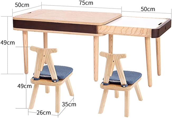 Juego de Mesa y Silla de Estudio de Madera Maciza para niños, Mesa de Juego para bebés y sillas, Escritorio pequeño multifunción, 75x50x49cm: Amazon.es: Hogar