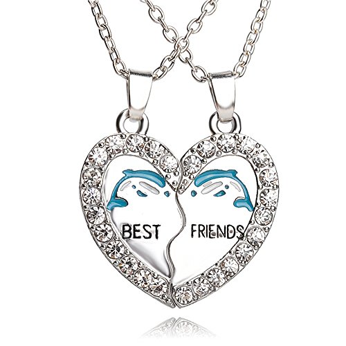 Yeegor White Rhinestone Best Friends Animal Split Heart Pendant Friendship Necklace Set of -