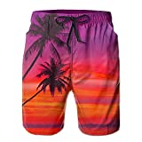 confirm vt Pink Orange Palm Tree Sunset Elastic Waist Men's Boardshorts Quickly Drying Swim Trunks Board Shorts with Pocket