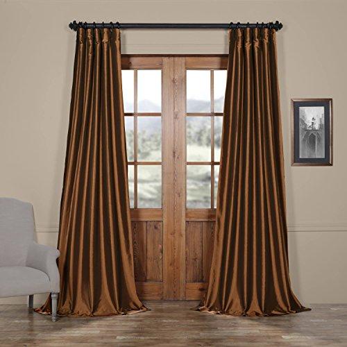 Half Price Drapes PTCH-JTSP209-84 Faux Silk Taffeta Curtain, Copper Brown