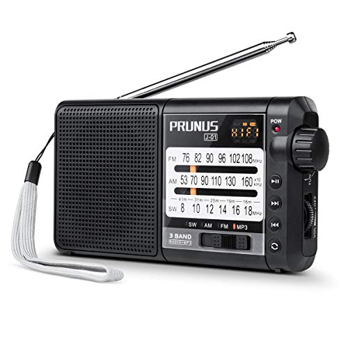 J-01 Portable AM FM Shortwave Radio with Best Reception(360° Rotatable Long Antenna),Small Transistor Radio with Rechargeable 18650 Battery, Supports Micro SD Card/TF Card(MP3,WMA Formats), by PRUNUS