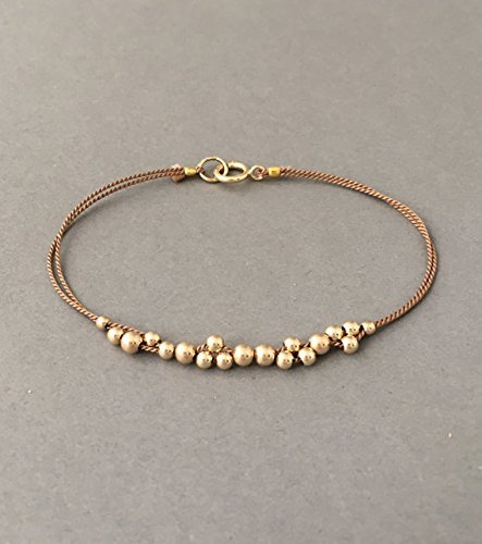 (Gold Fill Cluster Beaded Silk String Bracelet also available in Silver and Rose Gold Fill)