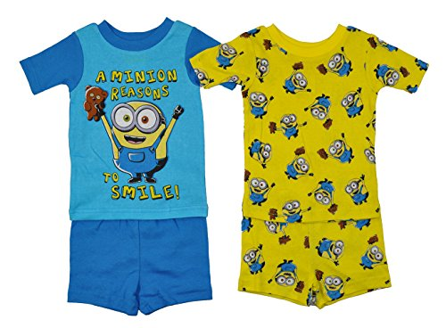 Minions Little Boys Yellow & Multi Color Snug Fit 4pc Pajama Short Set (3T) (Snug Sunshine Kids)