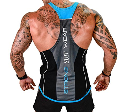 UPC 728129294314, ICOOLTECH Men's Fitness Gym Muscle Cut Stringer Bodybuilding Workout Sleeveless Tank Top Shirts (US - X-Large, Black and Blue)