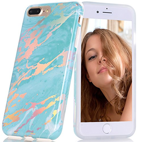 BAISRKE Shiny Laser Style Holographic Marble Case Design Slim Soft TPU Rubber Silicone Bumper Cover Phone Case for iPhone 7 Plus/iPhone 8 Plus [5.5 inch] - Green