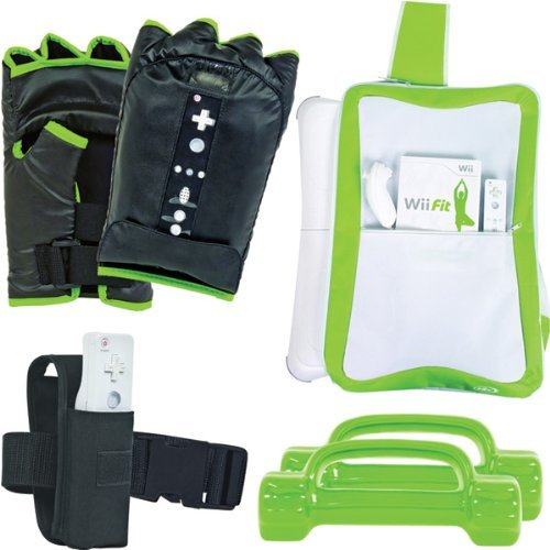 New Intec Workout Kit Boxing Gloves Nintendo Wii Fit Includes Pair Boxing Gloves Workout Belt (Intec Holder)