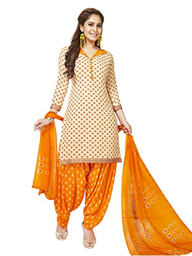 Jevi Prints Women's Unstitched Synthetic Crepe Beige Salwar Suit Dupatta Material