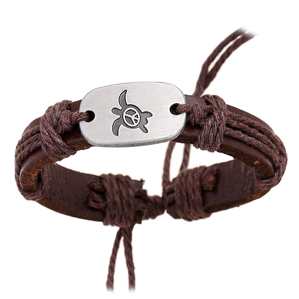 gu6uesa8nVintage Women Turtle Charm Faux Leather Braided Rope Bracelet Jewelry Gifts - Brown