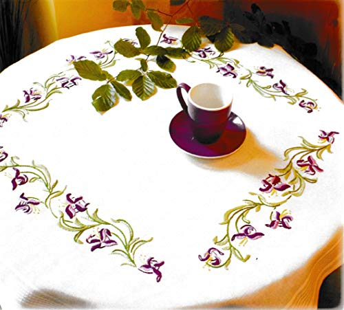 Printed Stamped Cross Stitch Tablecloth Kit for Embroidery (Orchids 1282)