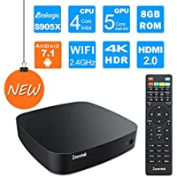 Zoomtak Tv Box [S905X/1G/8GB/4K] K3 Android 7.1 TV Box 2.4G WiFi HDMI 2.0 Streaming Media Player with Super Light and Handy Plastic Case Black