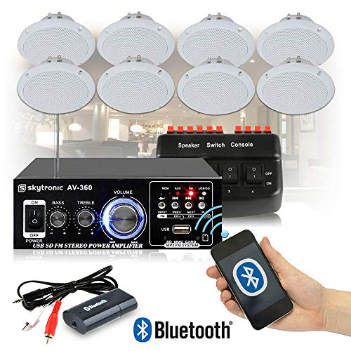 EM Cafe Restaurant Shop Bluetooth Amplifier Ceiling Speaker System Kit with 8x Ceiling Speakers & Switch