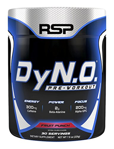 RSP Nutrition DyNO - Pre-Workout with Beta Alanine, Arginine and Alpha GPC for Energy, Power, Pump, Focus, All-Natural Colors & Flavors, Fruit Punch, 30 Servings