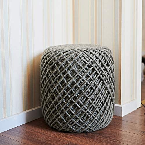 MOTINI 100 Wool Boho Cylinder Ottoman Pouf Chair and Foot Rest