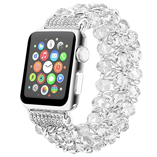 Fohuas for Apple Watch Band 42mm,Fashion Crystal Beads Bracelet Metal Chain Elastic Stretch Wristband Women Girls Replacement Strap for iWatch Series 3 / 2 / 1 All Version (White-42mm)