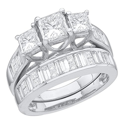 - Size 7 - 14K White Gold Princess Cut & Baguette Diamond Bridal Engagement Ring & Matching Wedding Band Two Piece Set - Prong Set Three Stone Center Setting Shape with Invisible Set Side Stones (2.50 cttw.)