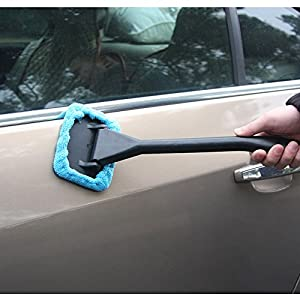 Microfiber Window Cleaner Long Handle Car Wash Brush Dust Car Care Windshield Shine Towel Handy Washable Car Cleaning Tool