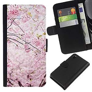 KLONGSHOP // Tirón de la caja Cartera de cuero con ranuras para tarjetas - Primavera Japón pétalos florales Blooming cerezo - Sony Xperia Z3 D6603 //