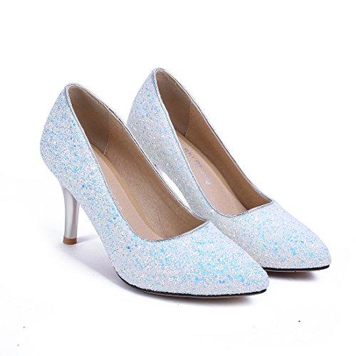 Hauts Glitter Élégant Femmes Stiletto UH Pointu Bout Blanc Chaussures Parti Pour Escarpins Talons p0qB8Y