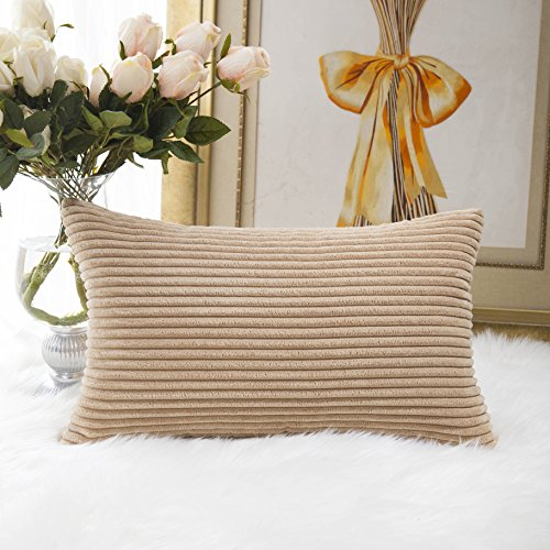 Home Brilliant Decorative Striped Corduroy Rectangle Cushion Cover Oblong Pillow Cover for Couch, 12 x 20 Inches, Khaki