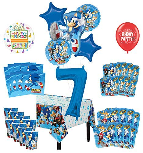 Mayflower Products Sonic The Hedgehog 7th Birthday Party Supplies 8 Guest Decoration Kit and Balloon Bouquet -