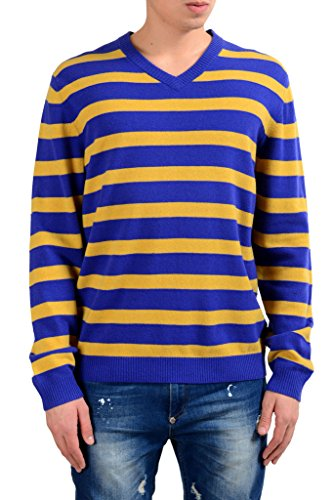 Hugo Boss Maceo Men's 100% Wool Regular Fit V-Neck Striped Sweater US XL IT 54; (Boss Sweater Hugo Striped)