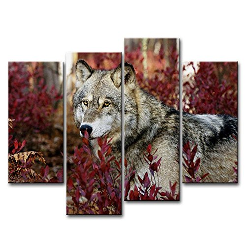 4 Piece Wall Art Painting Wolf In The Forest Pictures Prints On Canvas Animal The Picture Decor Oil For Home Modern Decoration Print - Wolf Horse