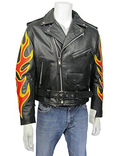 Rock Motocicleta Negro Cuero Aviador Chaqueta Osx Puro Piel 61pgq