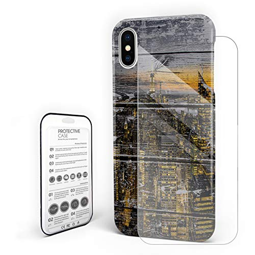 Manhattan Night Scene On Old Board Phone Case for iPhone X Stylish Design Slim Anti-Fall Hard Plastic Phone Cover with Tempered Gglass Screen Protector