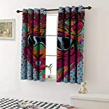 Flyerer Popstar Party Decorative Curtains for Living Room Popstar Poster Design Artistic Lion Painted with Sunglasses Dots and Stars Curtains Kids Room W72 x L72 Inch Multicolor