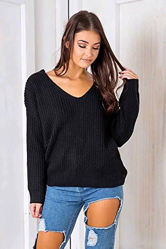 ReachMe Womens Sexy Lace Up Back Sweaters V Neck Loose Fit Rusty Red Pullovers