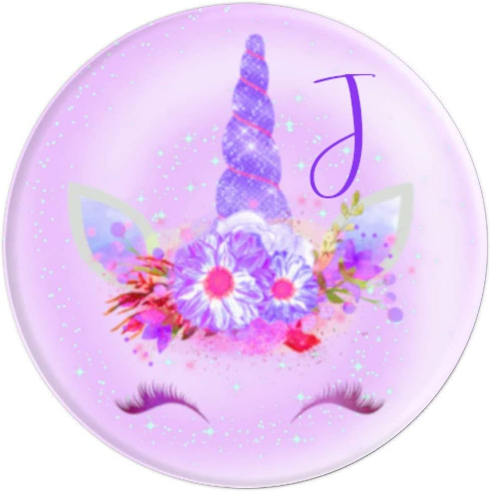 Phone Grip with Letter J Pop Up Holder Purple Galaxy Unicorn PopSockets Grip and Stand for Phones and Tablets