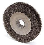 10'' Crimped Wire Wheel Brush, Arbor Hole Mounting, 0.014'' Wire Dia, 1-7/8'' Bristle Trim Length, 1 E