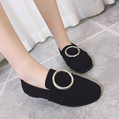 Transer Ladies Leisure Flats Shoes, Soft Women Slip On Casual Non-Slip Work Loafers, Comfy Leather Lazy Shoes Black
