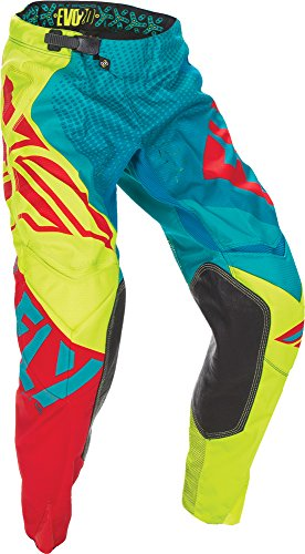 Fly Racing Unisex-Adult Evolution 2.0 Pants Dark Teal/Hi-Vis Size 34 ()