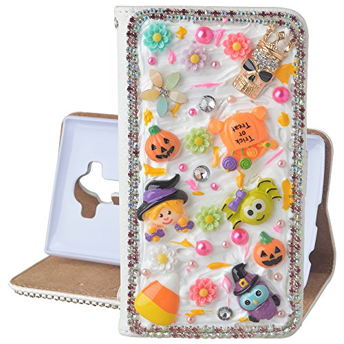 Beauxbatons Halloween Costume (For Samsung Galaxy Note 5 Hallowmas Theme Phone Case,Yaheeda 3D Handmade Stones Pumpkin Flower Skull Design PU Leather Cellphone Cover)