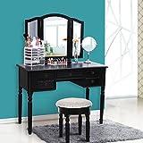 SONGMICS Vanity Set Tri-folding Mirror Make-up Dressing Table Cushioned Stool 5 Drawers Black URDT108B
