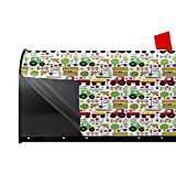 """Jolly2T Magnetic Mailbox Cover - 21""""W x 25.5""""H, Gardening Farming Agriculture Rural Theme with Fence Tractor Tree Bird Vegetable,Mailbox Wraps Post Letter Box Cover"""