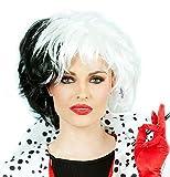 ALLAURA Cruella Costume Wig Black White Dalmation Cosplay Wigs   Fits Women & Kids