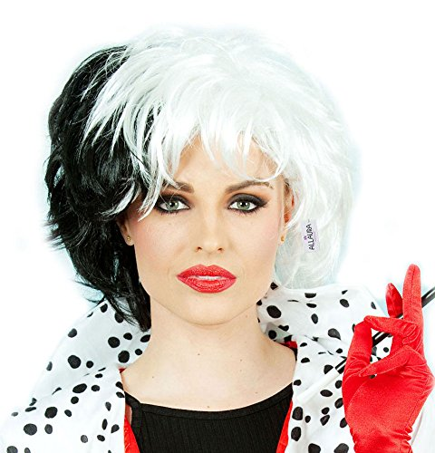 Cruella Costume Wig Black White Dalmation Cosplay Wigs | Fits Women & (Cruella Deville Childrens Costume)